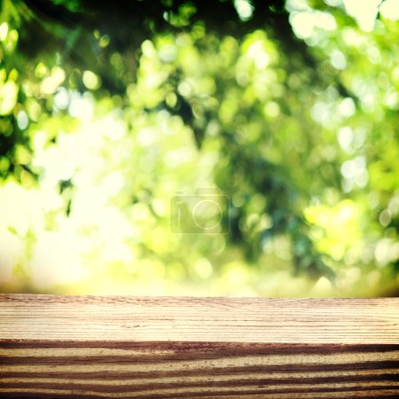 Aged wooden boards with a foliage backdrop