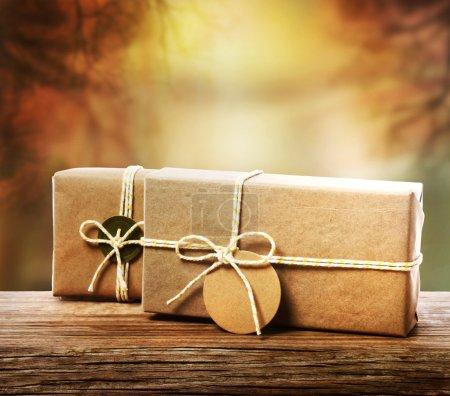 Photo pour Coffrets-cadeaux artisanaux avec un fond de branche d'arbre d'automne - image libre de droit