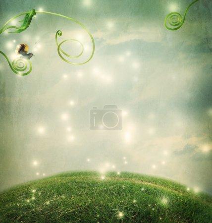 Photo pour Paysage de fantaisie avec un petit escargot et vrilles - image libre de droit