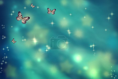 Butterflies on teal background