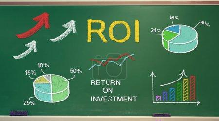 Photo pour ROI (retour sur investissement) concepts sur tableau de bord - image libre de droit