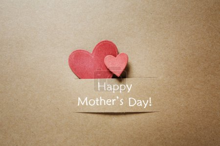 Photo for Happy Mothers Day message with handcrafted hearts - Royalty Free Image