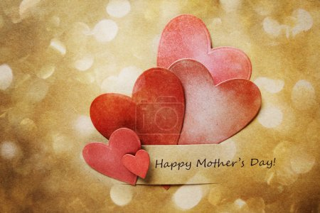 Photo for Happy Mothers Day Card with hand-crafted hearts and abstract circle lights - Royalty Free Image