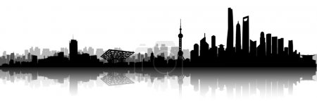 Illustration for Shanghai City Skyline Silhouette vector artwork - Royalty Free Image