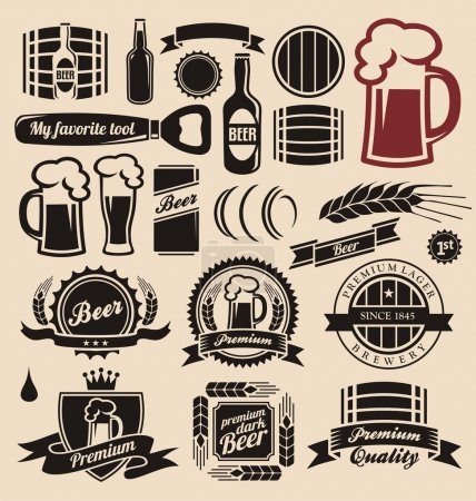 Photo for Beer icons, labels, signs, logo designs and design elements - Royalty Free Image