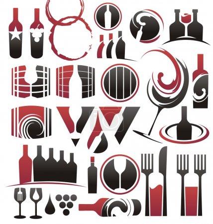 Illustration pour Collection d'icônes du vin, symboles, signes, dessins de logo et éléments de design - image libre de droit