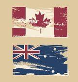 Grunge flags of Australia Canada