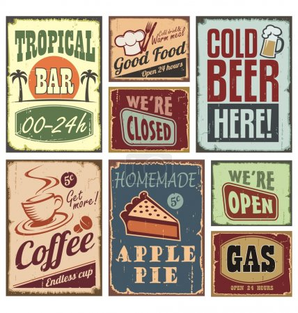 Illustration for Vintage style signs - set of tin advertising retro signs and posters - Royalty Free Image