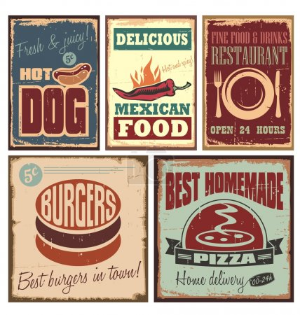 Illustration for Vintage style metal signs and retro posters for hotdog, pizza, burgers, restaurant and Mexican food - Royalty Free Image