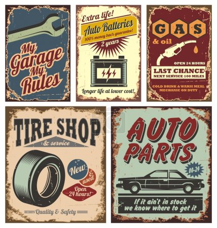 Illustration for Vintage car metal signs and posters vector - Royalty Free Image