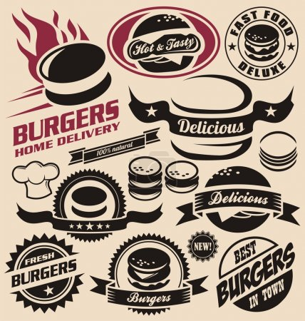 Burger icons, labels, signs, symbols and design elements