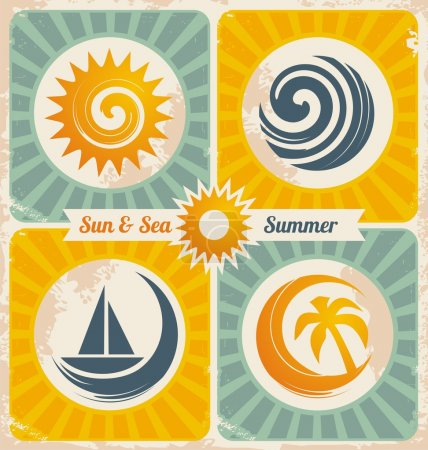 Photo for Retro travel poster with sun, sea, palm and sailboat graphics. Vintage vector graphic with travel design elements. Old paper texture with summer and holiday icons. - Royalty Free Image