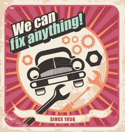 Auto service retro poster