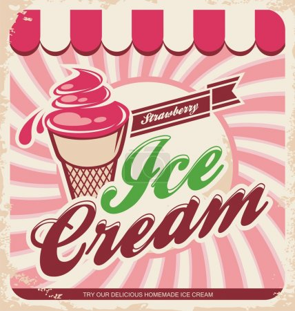Illustration for Retro ice cream poster. Vector illustration of vintage strawberry ice cream sign. Background template with delicious homemade cream - Royalty Free Image