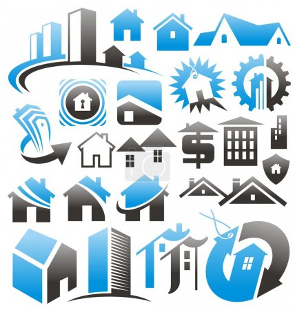 Photo for Set of house icons, symbols and signs. Vector collection with buildings design elements. Real estate, home security, home insurance design concepts. Home related business concepts and ideas. - Royalty Free Image