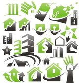 Set of house icons symbols and signs Vector collection with buildings design elements Real estate home security home insurance design concepts Home related business concepts and ideas