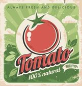 Vintage poster template for tomato farm Retro vegetables label design Vector old paper texture food background