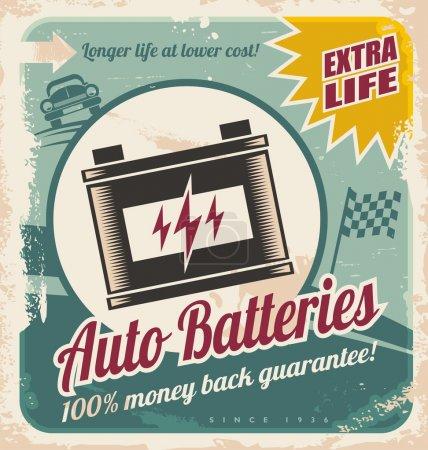 Auto batteries vintage poster design