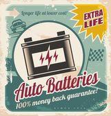 Retro auto batteries poster design Vintage background for car service or car parts shop