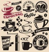 Coffee symbols and signs collection Vector set of coffee design elements and icons Vintage labels and badges with coffee cups and coffee beans