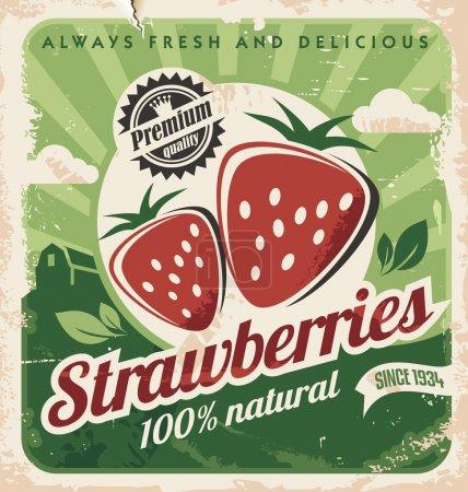 Illustration pour Modèle d'affiche vintage pour la ferme de fraises. Conception d'étiquettes de fruits rétro. vecteur vieux papier texture nourriture fond . - image libre de droit