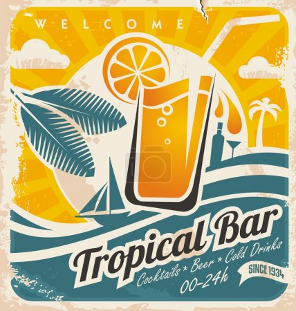 Illustration for Retro poster template for tropical bar. Beach bar vintage vector sign. Grunge seaside old paper card with cold drink and palm tree. - Royalty Free Image