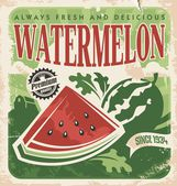 Vintage poster template for watermelon farm Retro vegetables and fruit label design Vector old paper texture food background