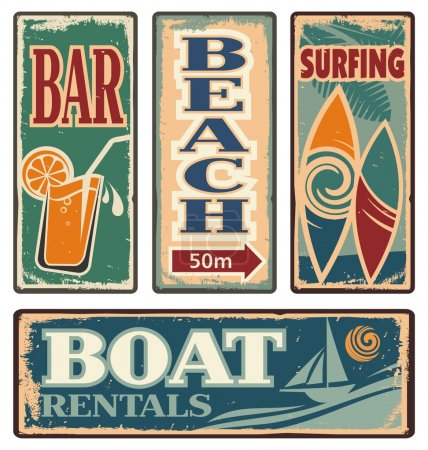 Photo for Set of beach vintage signs. Summer holiday vector collection. Retro vacation design elements and poster design templates. - Royalty Free Image