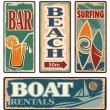 Set of beach vintage signs. Summer holiday vector ...