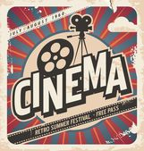 Retro cinema poster Vector movie poster for summer festival Vintage background illustration on old paper texture