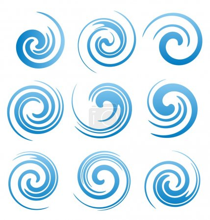 Illustration for Set of water swirls design elements. Abstract water splash shapes collection. Vector waves symbols, signs and icons. - Royalty Free Image