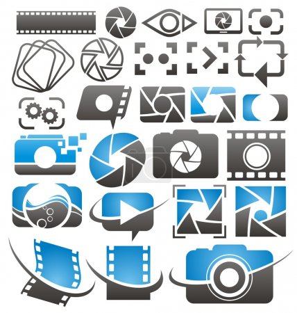 Set of vector photography and video icons, symbols, logos and signs
