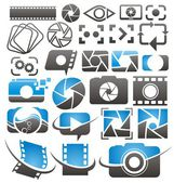 Set of vector photography and video icons symbols logos and signs