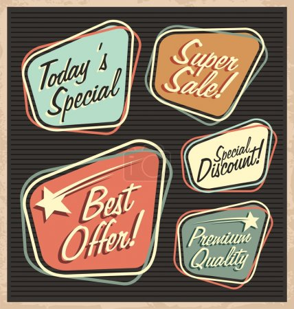 Illustration for Set of retro design elements. Artistic concept of promotional labels, badges, stickers, ads and bubble speeches. Vintage collection of advertisements and coupons. - Royalty Free Image