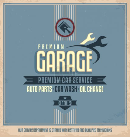 Illustration for Auto service retro poster design. Vintage garage and car repair vector label. Transportation design template on dirty old paper texture. - Royalty Free Image