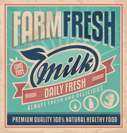 Retro farm fresh milk poster design template