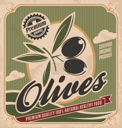 Retro olives poster design