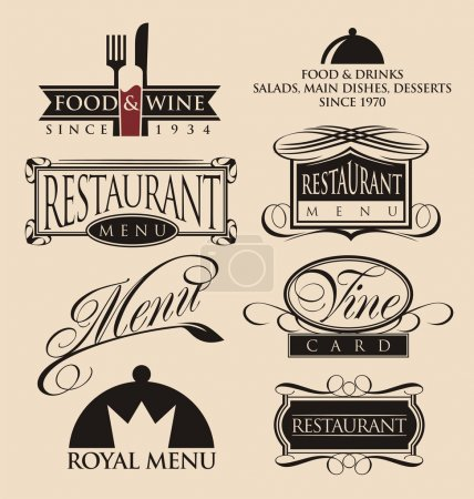 Photo for Vintage set of restaurant signs, symbols, logo elements and icons. Calligraphy decorations collection for restaurant menu. - Royalty Free Image