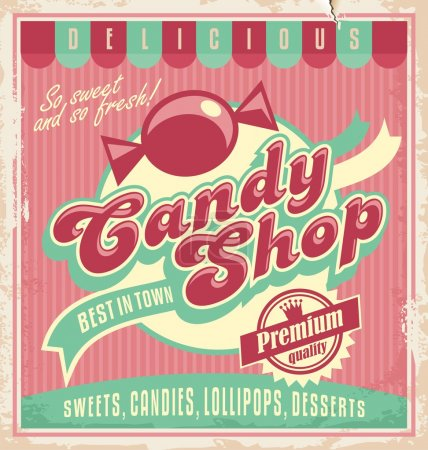 Vintage poster template for candy shop.