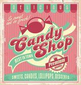 Retro poster template for candy shop Vintage banner or label design