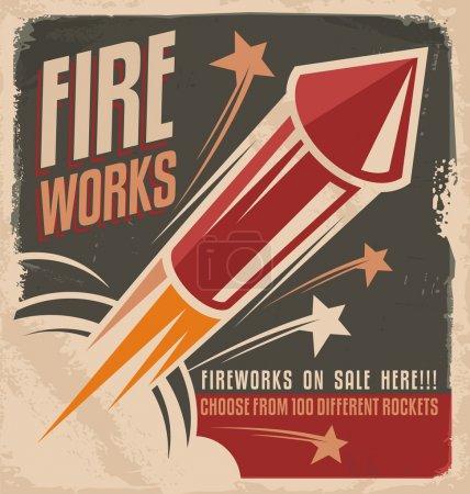 Illustration for Vintage fireworks poster design. Retro flyer design for fireworks rockets retailer. - Royalty Free Image