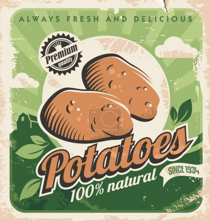 Vintage poster template for potato farm