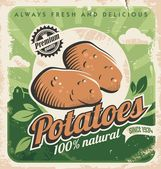 Vintage poster template for potato farm Retro vegetables label design Vector old paper texture food background Food and drink design concept