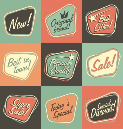 Illustration for Retro labels, badges, promotional banners and stickers collection - Royalty Free Image