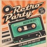Retro party poster design. Disco music event at ni...
