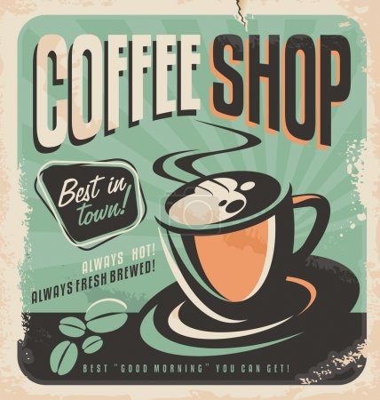 Illustration for Retro poster for coffee shop on old paper texture. Vintage magazine ad design with hot, fresh brewed coffee. Coffee cup and coffee beans, vector illustration. - Royalty Free Image