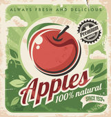 Retro poster design for fresh and delicious apples Vintage vector template on old paper texture