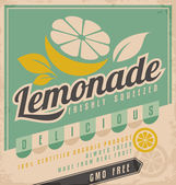 Retro poster design for ice cold lemonade Vintage label for gmo free organic fruit product Food and drink promotional ad template creative concept