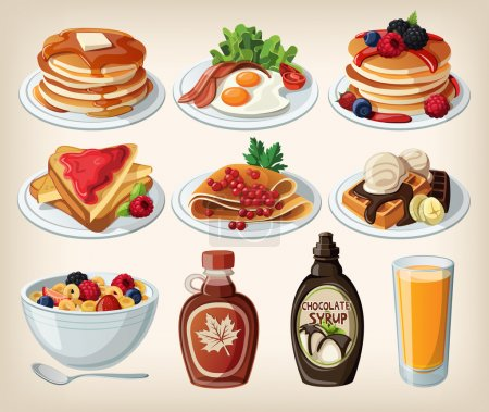 Classic breakfast cartoon set with pancakes, cerea...