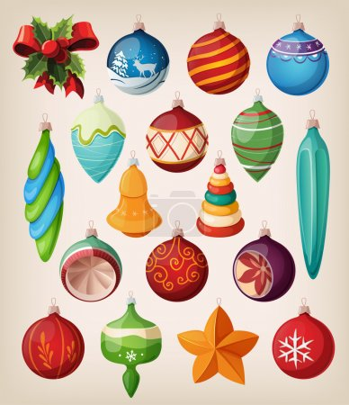 Illustration for Set of vintage christmas balls. Colorful isolated icons. - Royalty Free Image